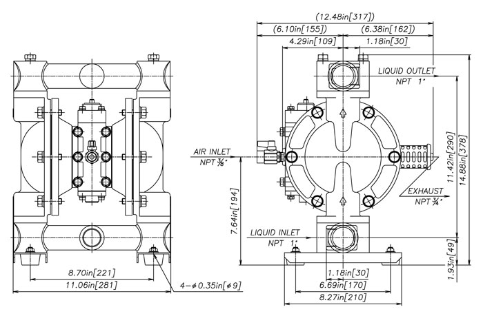 yamada ndp   series pumps    cad drawing  pdf  ndp   stainless steel  npt